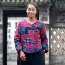 Cotton padded clothes Rose red, black Average size Winter of 2019 branch routine Long sleeves routine Single breasted commute Crew neck routine Straight cylinder ethnic style 51% (inclusive) - 70% (inclusive) hemp