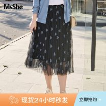 Women's large Spring 2021 Navy blue spot navy blue T1 T2 T3 T4 T5 T6 skirt singleton  Sweet easy thin shape polyester fiber T2103215 MS she / mu Shan Shiyi 25-29 years old 96% and above longuette Polyester 100% Pure e-commerce (online only) solar system