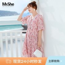 Women's large Summer 2021 Girl pink spot Girl Pink XL 2XL 3XL 4XL 5XL 6XL Dress singleton  Sweet easy thin Conjoined elbow sleeve Broken flowers V-neck polyester fiber Lotus leaf sleeve T2104028 MS she / mu Shan Shiyi 25-29 years old 96% and above longuette Polyester 100% solar system
