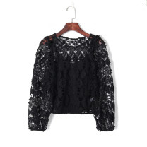 Lace / Chiffon Summer 2020 black XS,S,M,L Long sleeves Versatile Socket singleton  easy have cash less than that is registered in the accounts Crew neck Solid color 18-24 years old Other / other 51% (inclusive) - 70% (inclusive)