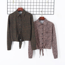 shirt Green, coffee S,M,L Autumn 2020 other 51% (inclusive) - 70% (inclusive) Long sleeves Versatile Short style (40cm < length ≤ 50cm) Single row multi button routine Leopard Print 18-24 years old Other / other