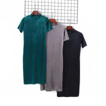 Dress Spring 2020 Black, gray, dark green S, M longuette singleton  Short sleeve Half high collar Solid color Socket routine Others 18-24 years old Other / other 51% (inclusive) - 70% (inclusive) other