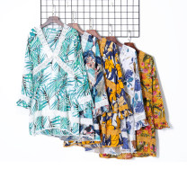 Dress Autumn of 2019 Green bamboo, blue leaves, leaves, birds, orange flowers, orange flowers, orange leaves S,M,L,XL Middle-skirt singleton  Long sleeves V-neck Decor Socket Others 18-24 years old Other / other 51% (inclusive) - 70% (inclusive) other