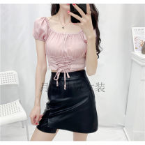 shirt Pink S,M,L Autumn 2020 other 51% (inclusive) - 70% (inclusive) Short sleeve Versatile Super short One word collar Socket Solid color 18-24 years old Self cultivation Other / other