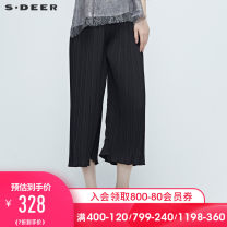 Casual pants Black / 91 S/160 M/165 L/170 XL/175 Summer 2020 trousers Straight pants Natural waist commute routine 25-29 years old 96% and above S·DEER\CONCEPT Ol style Polyester 98% polyurethane elastic fiber (spandex) 2%