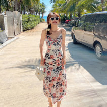Dress Summer 2021 XS,S,M,L longuette singleton  Sleeveless commute V-neck High waist Decor zipper A-line skirt other camisole 25-29 years old Type A Island song lady Simplicity More than 95% Chiffon polyester fiber