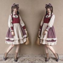 Dress Autumn of 2018 Dress, dress + Hair Band S,M,L Mid length dress singleton  Long sleeves Sweet V-neck High waist lattice other Princess Dress puff sleeve Splicing 71% (inclusive) - 80% (inclusive) other cotton Lolita