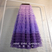 skirt Winter 2020 XS,S,M,L,XL Purple line (skirt length 100 cm), red line (skirt length 100 cm), customize other colors, other sizes, please take this link longuette High waist Cake skirt Solid color Type A Ruffle, pleat, mesh, stitching