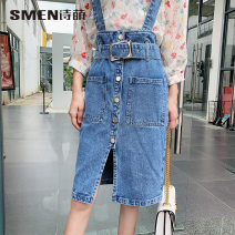 skirt Spring 2020 155/64A/S 160/68A/M 165/72A/L 170/76A/XL Denim skirt Mid length dress Natural waist Type H 25-29 years old More than 95% Smen / poetry · Meng cotton Cotton 100%