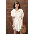 Dress Summer 2021 white XS,S,M,L Short skirt singleton  Short sleeve commute Polo collar High waist Solid color Socket A-line skirt bishop sleeve Others 25-29 years old Type A HeyDress Retro More than 95% other cotton