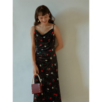 Dress Spring 2021 black XS,S,M,L longuette singleton  Sleeveless commute V-neck High waist Decor zipper A-line skirt routine camisole 25-29 years old Type A HeyDress Simplicity 91% (inclusive) - 95% (inclusive) polyester fiber