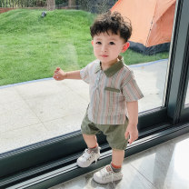 suit Let's play 73cm 80cm 90cm 100cm 110cm male summer leisure time Short sleeve + pants 2 pieces Thin money There are models in the real shooting Single breasted nothing stripe cotton children Summer 2020 6 months 12 months 9 months 18 months 2 years 3 years 4 years old