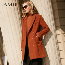 woolen coat Winter 2017 polyester 71% (inclusive) - 80% (inclusive) Medium length Long sleeves commute double-breasted routine tailored collar Solid color Self cultivation Simplicity Amii 25-29 years old zipper