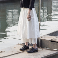 skirt Spring of 2019 S, M white Mid length dress victoria Natural waist Fluffy skirt Solid color Type A 18-24 years old SQ-6060 More than 95% other Simple BLACK hemp 181g / m ^ 2 (including) - 200g / m ^ 2 (including)