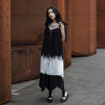 Dress Summer of 2019 black S, M Mid length dress singleton  Short sleeve commute other middle-waisted Solid color other Irregular skirt other camisole 18-24 years old Type H Simple BLACK Korean version printing Q-367 More than 95% Chiffon polyester fiber
