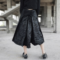 skirt Fall 2017 S,M,L black Mid length dress Retro High waist Little black dress Solid color Type A 18-24 years old Q-208 More than 95% other Simple BLACK polyester fiber Three dimensional decoration, asymmetry, old 201g / m ^ 2 (including) - 250G / m ^ 2 (including)