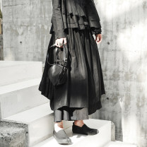skirt Autumn of 2018 S,M,L black longuette commute low-waisted Irregular Solid color Type H 18-24 years old K-382 More than 95% other Simple BLACK cotton Asymmetry Retro 121g / m ^ 2 (including) - 140g / m ^ 2 (including)