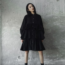 shirt black Average size Spring of 2018 cotton 96% and above Long sleeves commute Medium length stand collar Single row multi button routine Solid color 18-24 years old Straight cylinder Simple BLACK Korean version Ruffles, stitching