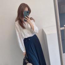 T-shirt White top, blue top, coffee top, deep sea blue skirt, Khaki Skirt S,M,L Winter 2020 three quarter sleeve Crew neck Regular cotton 31% (inclusive) - 50% (inclusive) Solid color