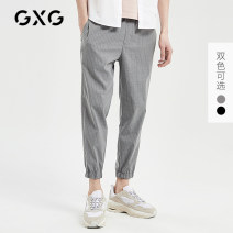 Casual pants GXG Youth fashion 165/S 170/M 175/L 180/XL 185/XXL 190/XXXL thin Ninth pants Other leisure Straight cylinder Micro bomb winter youth like a breath of fresh air 2019 middle-waisted Little feet stripe Summer of 2018 Same model in shopping mall (sold online and offline)