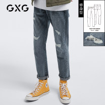 Jeans Youth fashion GXG 165/S 170/M 175/L 180/XL 185/XXL 190/XXXL Blue blue-B blue-c blue-d routine Micro bomb GB105062E trousers Cotton 99.6% polyurethane elastic fiber (spandex) 0.4% autumn youth middle-waisted 2020 zipper washing Autumn 2020 Same model in shopping mall (sold online and offline)