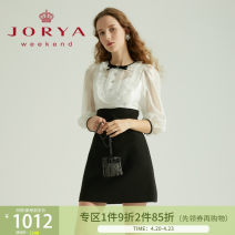 Dress Spring 2021 white S,M,L,XL Short skirt three quarter sleeve Sweet Lotus leaf collar High waist zipper A-line skirt routine 25-29 years old Type X JORYA weekend Bows, ruffles, buttons EJWBAJ10 other princess