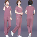 Sports suit Army green, treasure blue, brick red, lotus root pink Shuyanis female Short sleeve V-neck trousers Socket Summer 2021 Sports & Leisure Moisture absorption and perspiration, anti ultraviolet, breathable Sports life cotton Embroidery