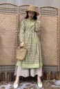 Dress Spring 2020 Grass green M, L Mid length dress singleton  Long sleeves Sweet square neck Loose waist lattice Socket Princess Dress routine Others 25-29 years old Type X Pockets, stitching More than 95% other cotton Countryside