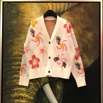 Wool knitwear Winter of 2018 S,M,L white Long sleeves singleton  Cardigan other 71% (inclusive) - 80% (inclusive) have cash less than that is registered in the accounts routine Sweet Self cultivation V-neck routine Plants and flowers Single breasted DD1082 18-24 years old Elegance depends on love