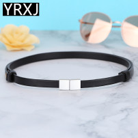 Belt / belt / chain top layer leather female belt Versatile Single loop Youth, middle age and old age a hook Glossy surface soft surface 1cm alloy alone Autumn of 2019