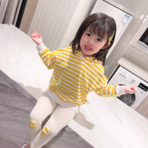 suit Bella Yellow medium stripe bear suit 66cm,73cm,80cm,90cm,100cm,110cm,120cm,130cm female spring and autumn Long sleeve + pants routine There are models in the real shooting Socket 6 months, 12 months, 9 months, 18 months, 2 years, 3 years, 4 years