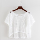 Lace / Chiffon Summer 2020 White, black Average size Short sleeve commute Socket singleton  easy have cash less than that is registered in the accounts Crew neck Solid color raglan sleeve Other / other Hollowing out Korean version 81% (inclusive) - 90% (inclusive) cotton
