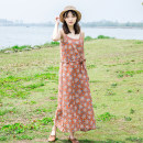 Dress Summer of 2019 Brick red, grass green Average size longuette singleton  Sweet Crew neck middle-waisted Broken flowers Socket A-line skirt camisole Type H Other / other 51% (inclusive) - 70% (inclusive) cotton Mori