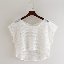 Lace / Chiffon Summer of 2019 White, black M, L Short sleeve Versatile Socket singleton  easy have cash less than that is registered in the accounts Crew neck Solid color Hollowing out 96% and above cotton