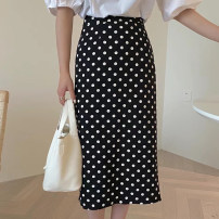skirt Summer 2021 M, L Black, white Mid length dress Sweet High waist other Broken flowers Type H 25-29 years old 81% (inclusive) - 90% (inclusive) Chiffon printing Ruili