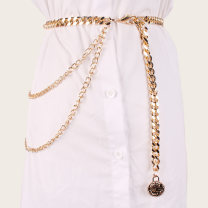 Belt / belt / chain Metal Silver, gold female Waist chain Versatile Single loop Youth, youth, middle age a hook other Glossy surface 1cm alloy C110
