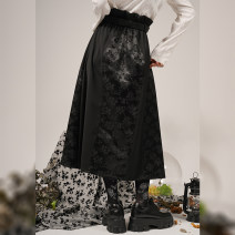 skirt Spring 2021 S,M,L black longuette commute High waist A-line skirt Solid color Type A 25-29 years old ZQ53 71% (inclusive) - 80% (inclusive) Lace polyester fiber Embroidery, stitching