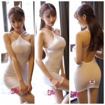 Dress Summer of 2018 White, gray, black, red One size fits all dress without socks Short skirt Sleeveless High waist Solid color Socket One pace skirt Hanging neck style Type H
