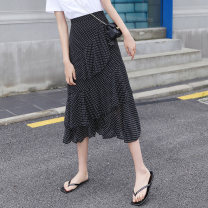 skirt Spring 2020 S,M,L Graph color Mid length dress fresh High waist A-line skirt Dot Type A 18-24 years old Q-2032 91% (inclusive) - 95% (inclusive) polyester fiber Resin fixation 201g / m ^ 2 (including) - 250G / m ^ 2 (including)