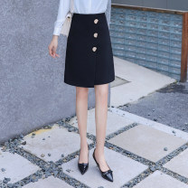 skirt Spring 2020 S,M,L,XL,2XL black Middle-skirt commute High waist skirt Solid color Type A 18-24 years old Q-5857 91% (inclusive) - 95% (inclusive) other polyester fiber Button, resin fixation Ol style 201g / m ^ 2 (including) - 250G / m ^ 2 (including)