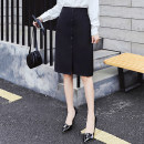 skirt Spring 2020 XS,S,M,L,XL,2XL black Middle-skirt commute High waist Suit skirt Solid color Type A 18-24 years old 91% (inclusive) - 95% (inclusive) other polyester fiber Button, resin fixation Korean version 201g / m ^ 2 (including) - 250G / m ^ 2 (including)