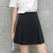 skirt Spring 2021 S,M,L,XL,2XL,3XL Black Summer (shorts lining), black thickened (shorts lining) Short skirt commute High waist A-line skirt Solid color Type A 18-24 years old Q-3572 81% (inclusive) - 90% (inclusive) other polyester fiber Resin fixation, splicing Ol style