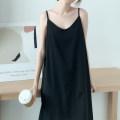 Dress Summer 2021 black S,M,L,XL singleton  Sleeveless commute Loose waist Solid color Socket A-line skirt camisole Type A Simplicity Chiffon