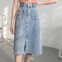 skirt Spring 2020 S [90-100kg], m [100-110kg], l [110-120kg], XL [120-135kg], 2XL [135-150kg], 3XL [150-165kg], 4XL [165-175kg], 5XL [175-200kg] Black, blue Mid length dress commute High waist A-line skirt Type A 18-24 years old 71% (inclusive) - 80% (inclusive) cotton Button Korean version