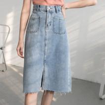 skirt Spring 2020 S [90-100kg], m [100-110kg], l [110-120kg], XL [120-135kg], 2XL [135-150kg], 3XL [150-165kg], 4XL [165-175kg], 5XL [175-200kg] Black, blue Mid length dress commute High waist A-line skirt Type A 18-24 years old 71% (inclusive) - 80% (inclusive) cotton Button Korean version