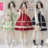 Dress Autumn of 2018 Black ~ dress + headband, Green ~ dress + headband, red ~ dress + headband Average size Middle-skirt singleton  Sweet other Solid color other other other Others 18-24 years old Jingyuefang Lace, stitching, lacing, pleating 1834 Baby Star 71% (inclusive) - 80% (inclusive) Lace