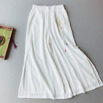 Casual pants White, khaki, blue, turquoise Average size Autumn 2020 trousers Wide leg pants High waist commute Thin money 25-29 years old 71% (inclusive) - 80% (inclusive) Other / other hemp Retro Embroidery hemp