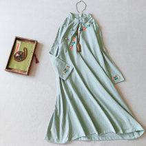 Dress Autumn of 2019 Average size Mid length dress singleton  Long sleeves commute stand collar Loose waist other Socket A-line skirt routine 25-29 years old Type A Other / other Retro Embroidery, pockets, stitching, buttons 51% (inclusive) - 70% (inclusive) hemp