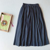skirt Autumn 2020 Average size Khaki, black, Navy Mid length dress commute High waist A-line skirt Solid color Type A 25-29 years old CK060 71% (inclusive) - 80% (inclusive) Other / other hemp Gouhua hollowed out, splicing Retro