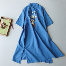 Dress Summer 2020 Average size Mid length dress singleton  Short sleeve commute stand collar Loose waist other Socket A-line skirt routine 25-29 years old Type A Other / other Retro Embroidery, stitching, buttons LF065 71% (inclusive) - 80% (inclusive) hemp